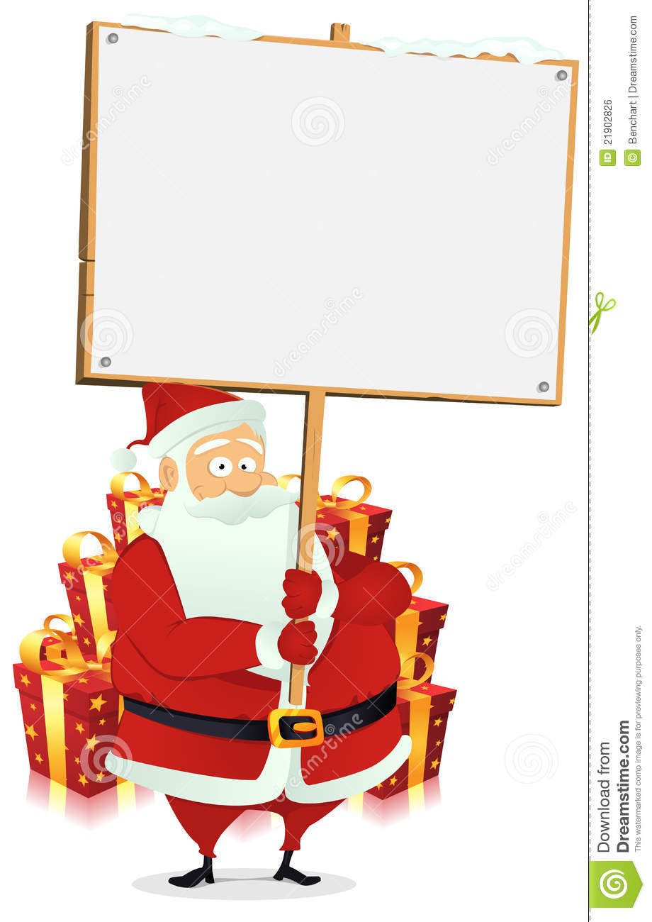 Merry christmas santa claus holding wood sign royalty free stock