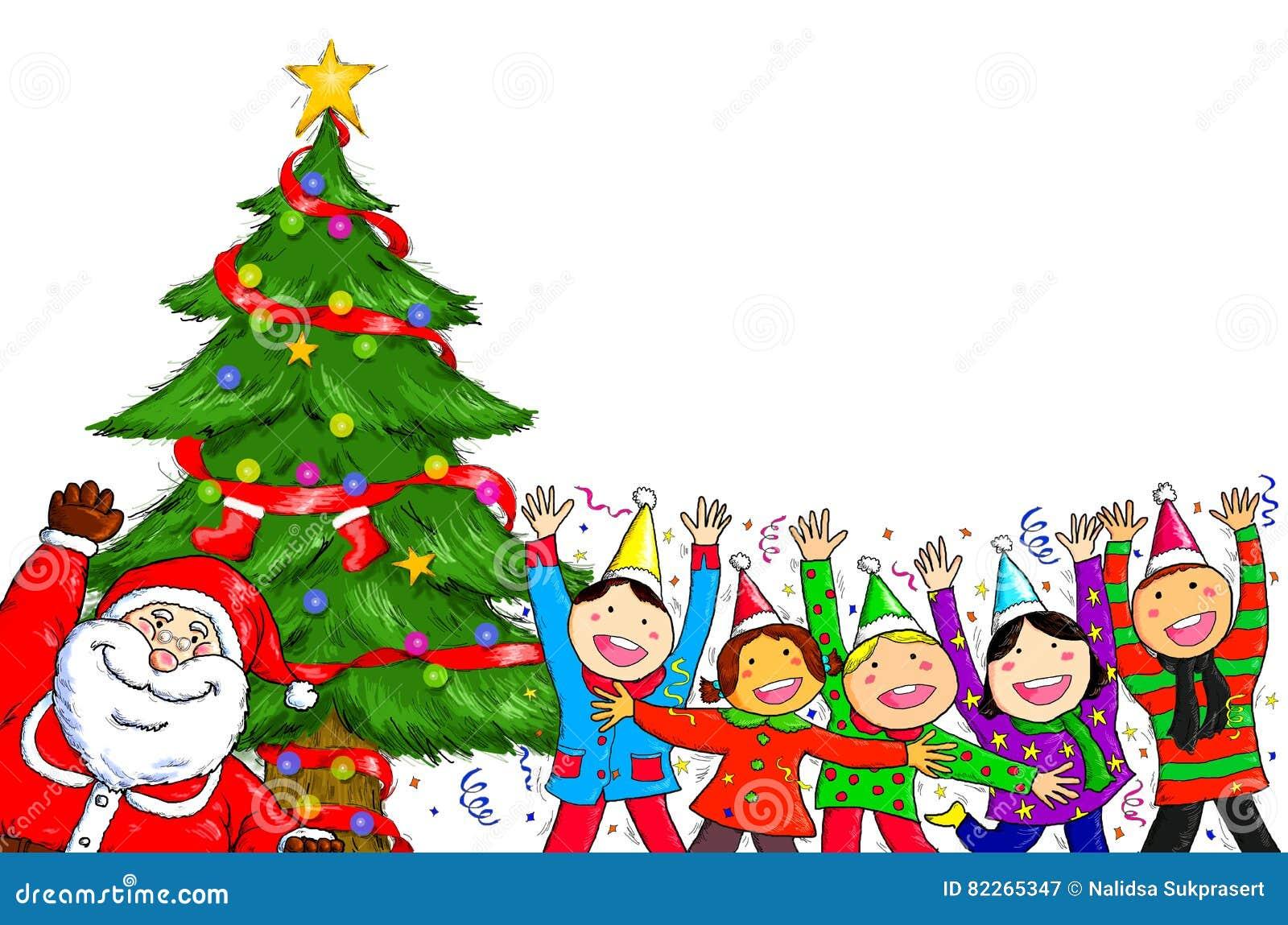 Merry Christmas Santa Claus People Christmas Tree Celebration
