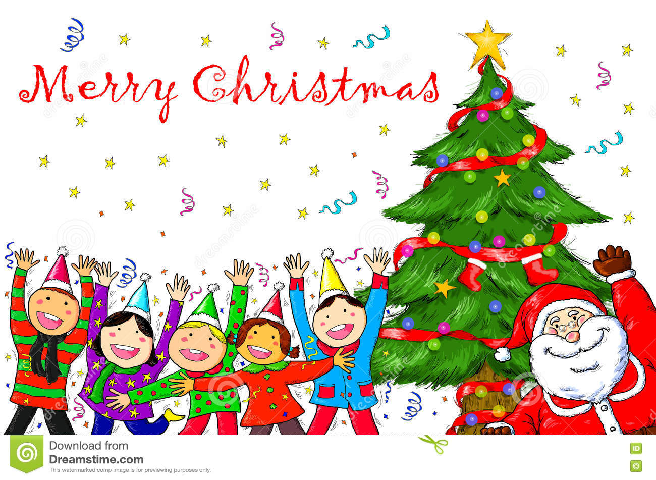 Christmas Celebration Images For Drawing.Merry Christmas Santa Claus People Christmas Tree