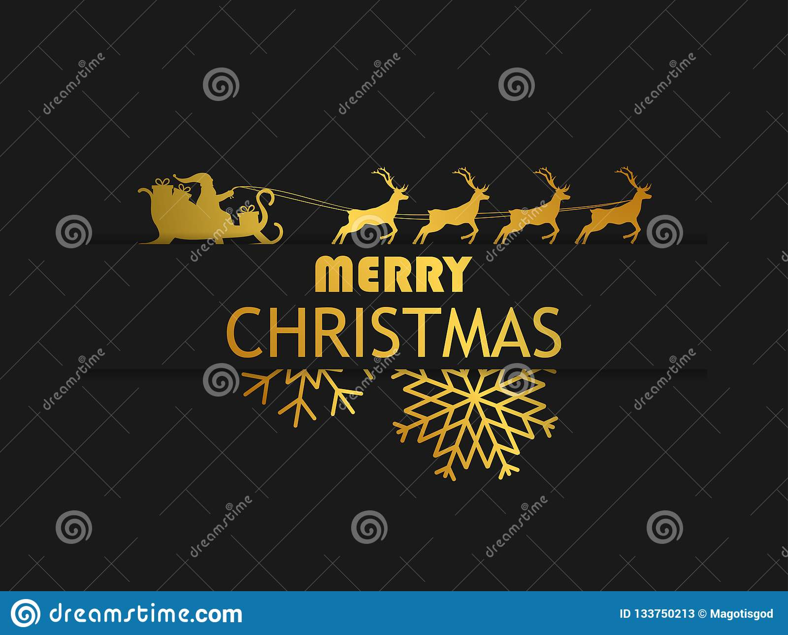 Merry Christmas. Santa Claus in a sleigh with reindeer on black background. Greeting card design template with golden gradient