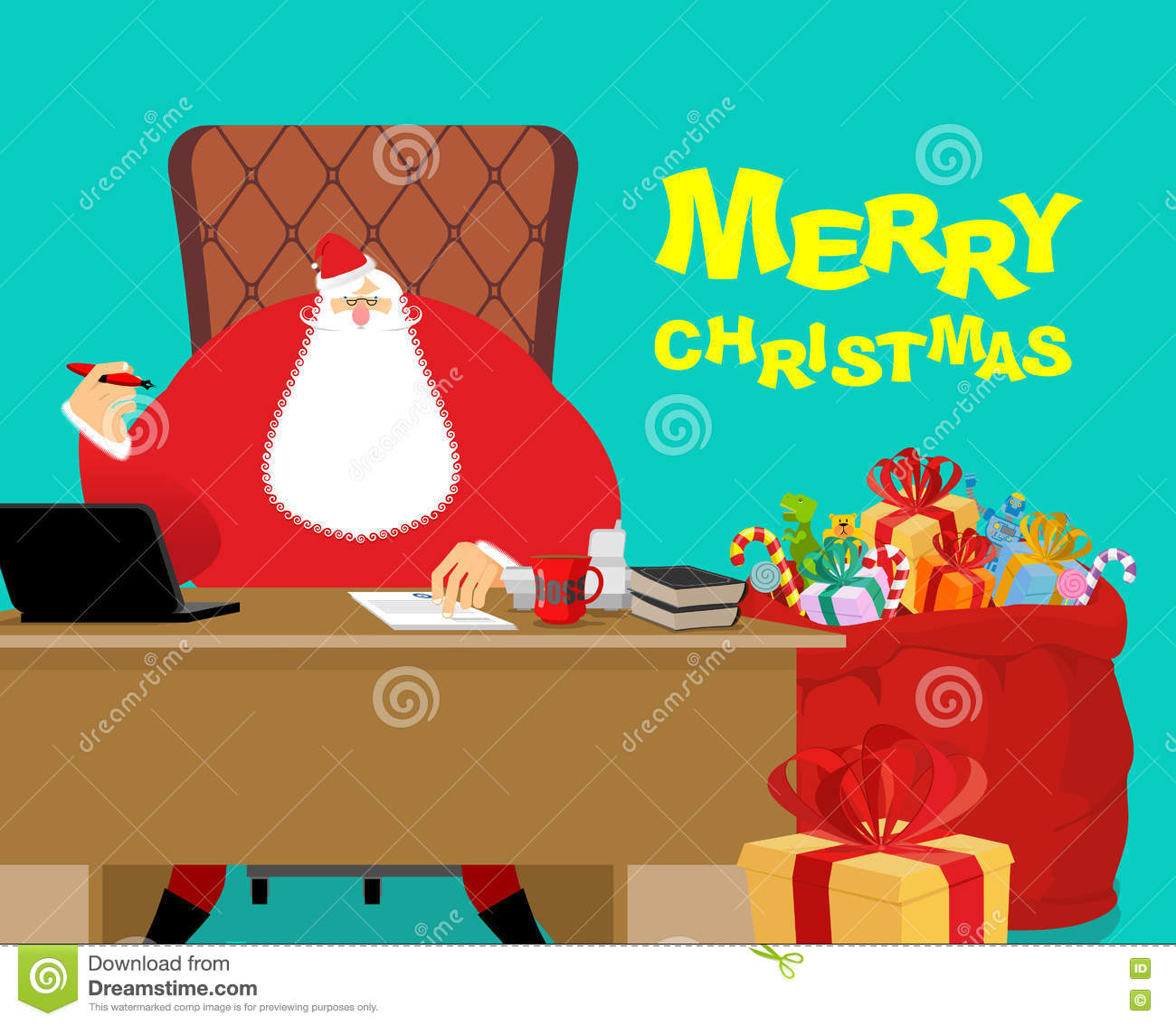 Merry Christmas. Santa Claus at work. Big red bag with gifts for