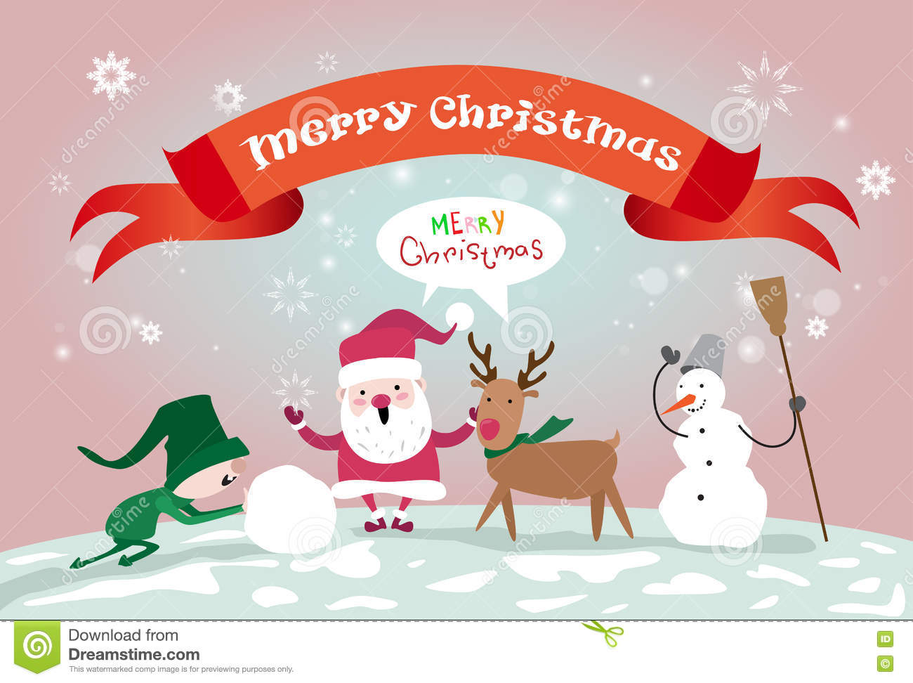 merry christmas santa clause reindeer elf making snowman happy new year greeting card