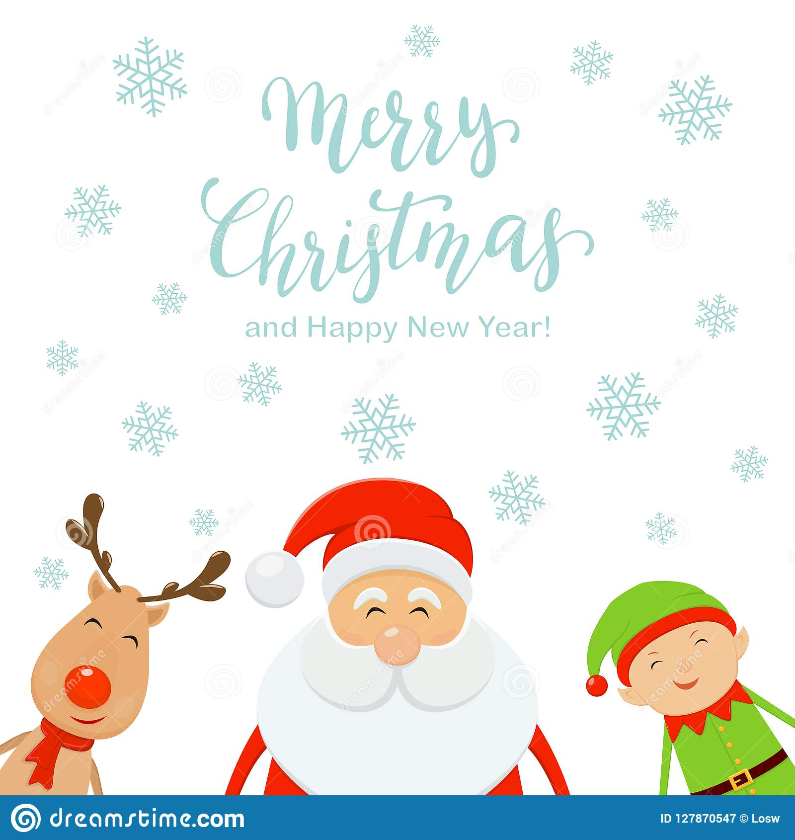 Merry Christmas And Santa With Elf And Reindeer On White Stock ...
