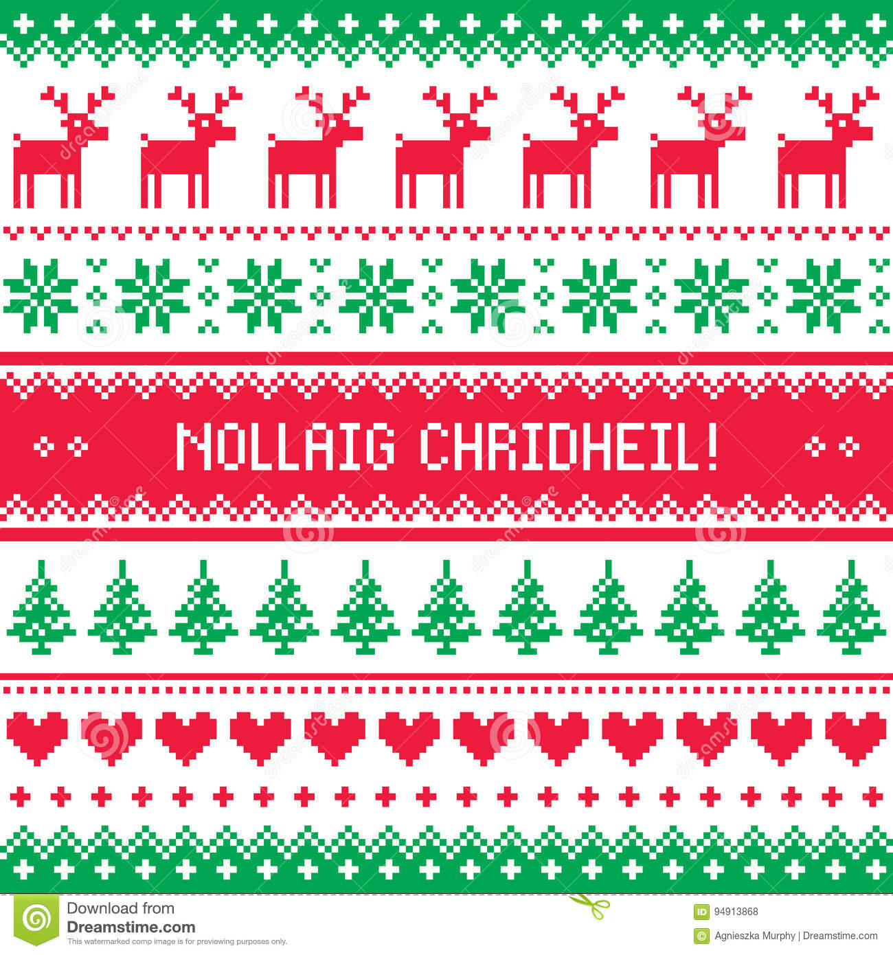 download merry christmas in scottish gaelic greetings card seamless pattern stock vector illustration of - Merry Christmas In Gaelic