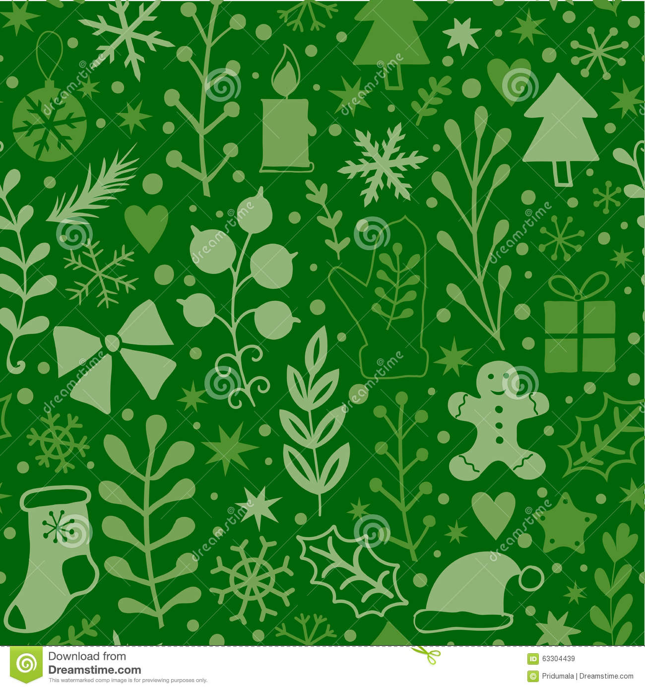 Merry Christmas Seamless Pattern Green Plants Happy New