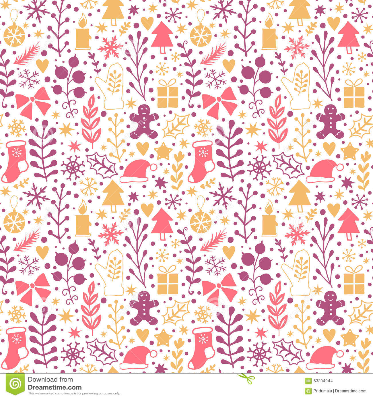 Merry Christmas Seamless Pattern Happy New Year