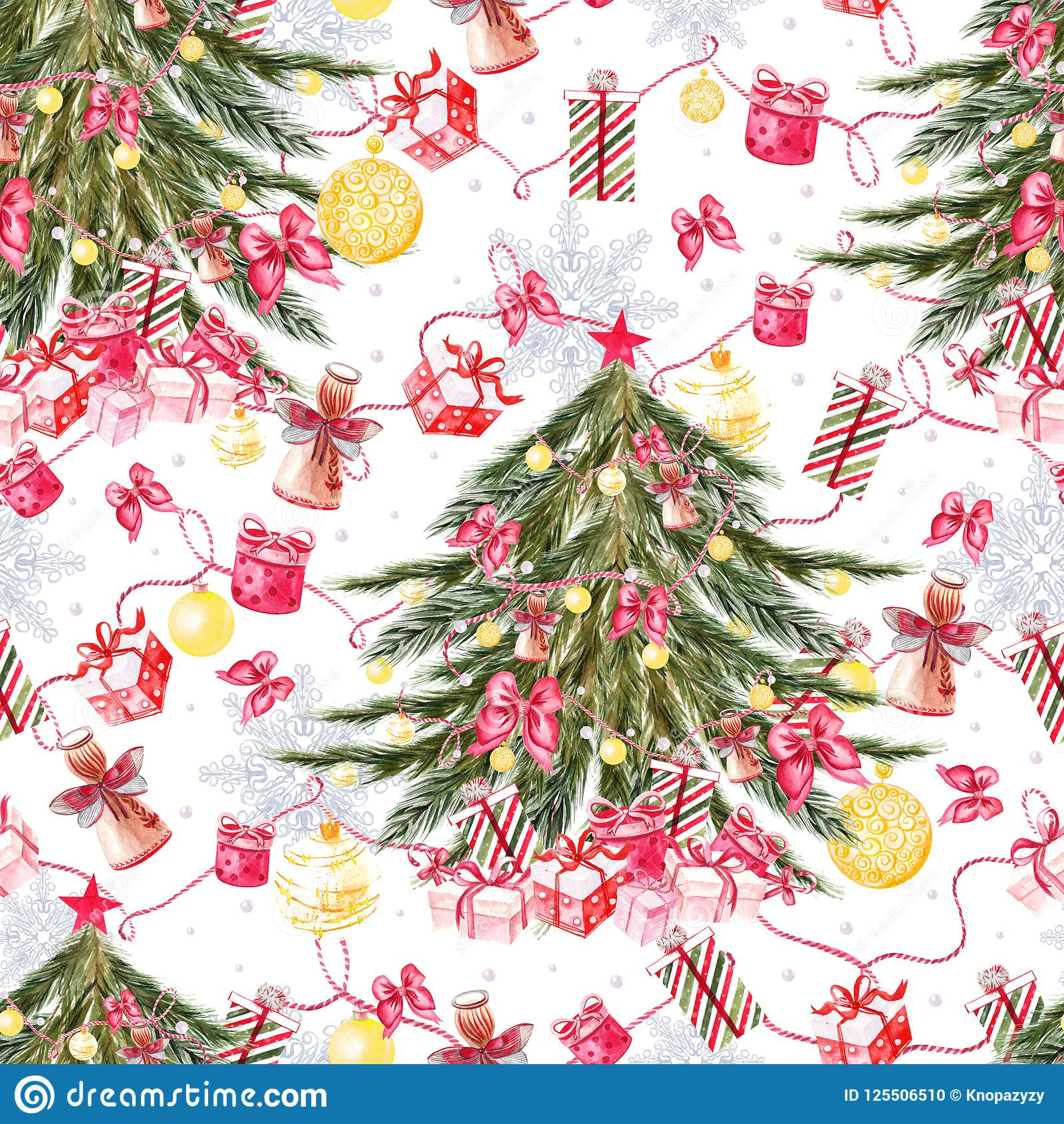 Colors Christmas.Merry Christmas Seamless Pattern With Watercolor Christmas