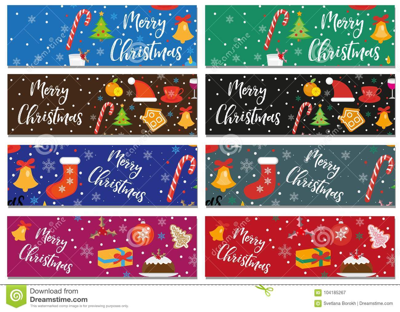 Christmas Board Design.Merry Christmas Set Of Banners Template With Space For Text