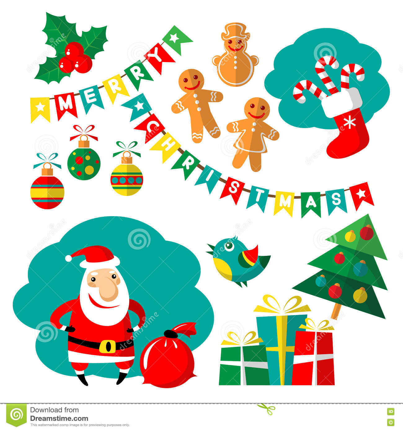 Merry Christmas Set Stock Vector Illustration Of Cute 80968795
