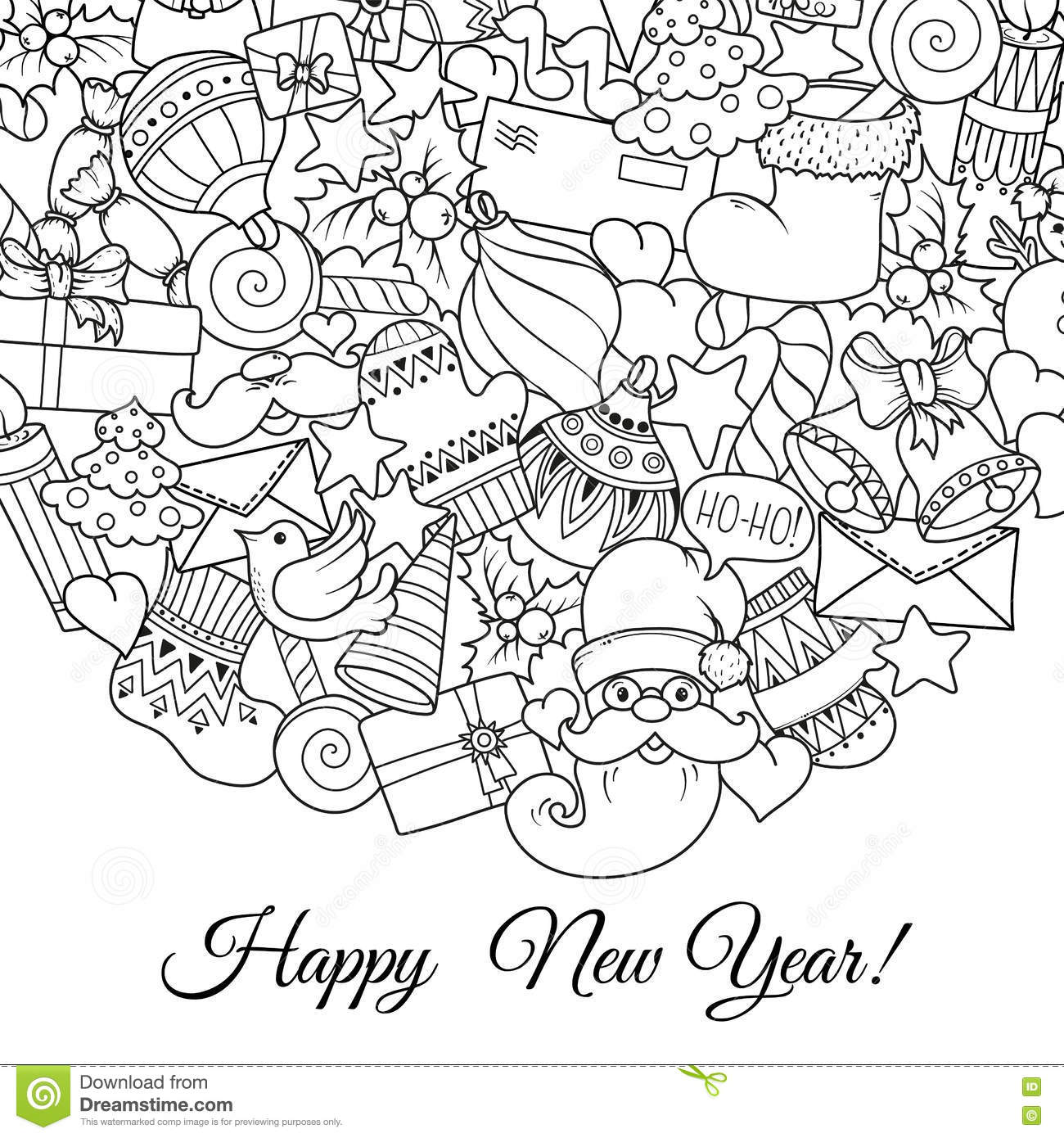 Merry Christmas Coloring Card Personalized Announcement: Merry Christmas Set Of Xmas Monochrome Pattern And Text