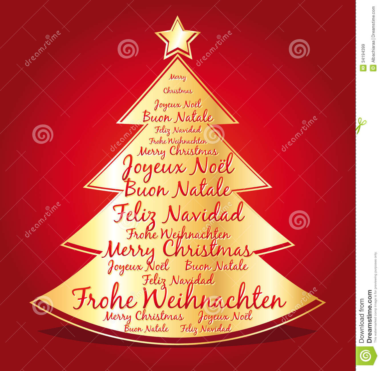 Merry Christmas In Several Languages In A Golden Christmas ...