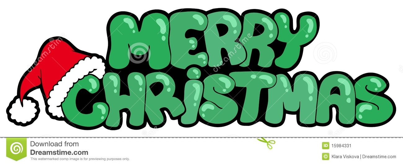 Merry christmas sign with hat stock vector image