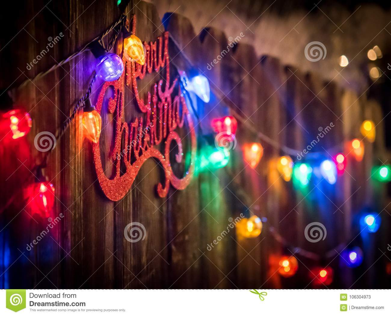 Merry christmas sign and lights stock illustration illustration