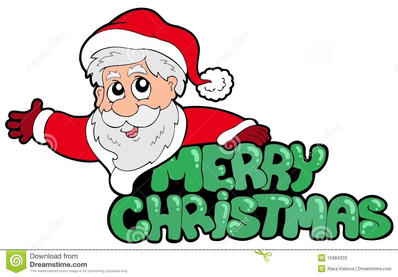 Merry Christmas Sign With Santa Stock Vector Illustration Of Color