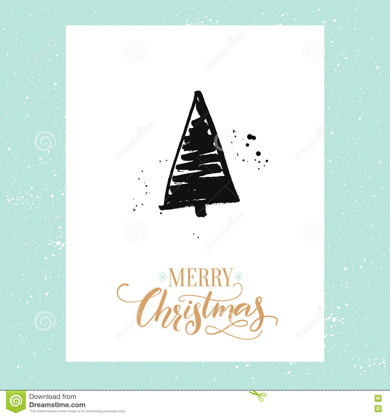 Merry christmas simple greeting card with hand drawn christmas tree merry christmas simple greeting card with hand drawn christmas tree vector design template with calligraphy type kristyandbryce Gallery