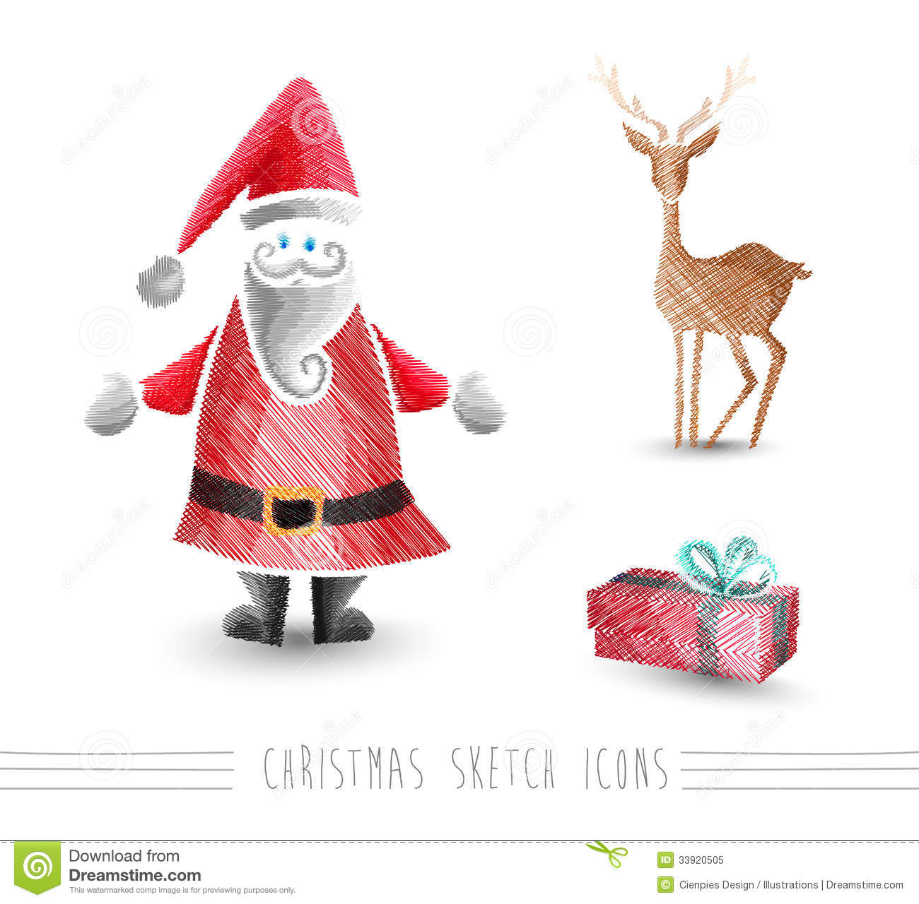 Merry Christmas Sketch Style Elements Set EPS10 File. Stock Vector - Image 33920505