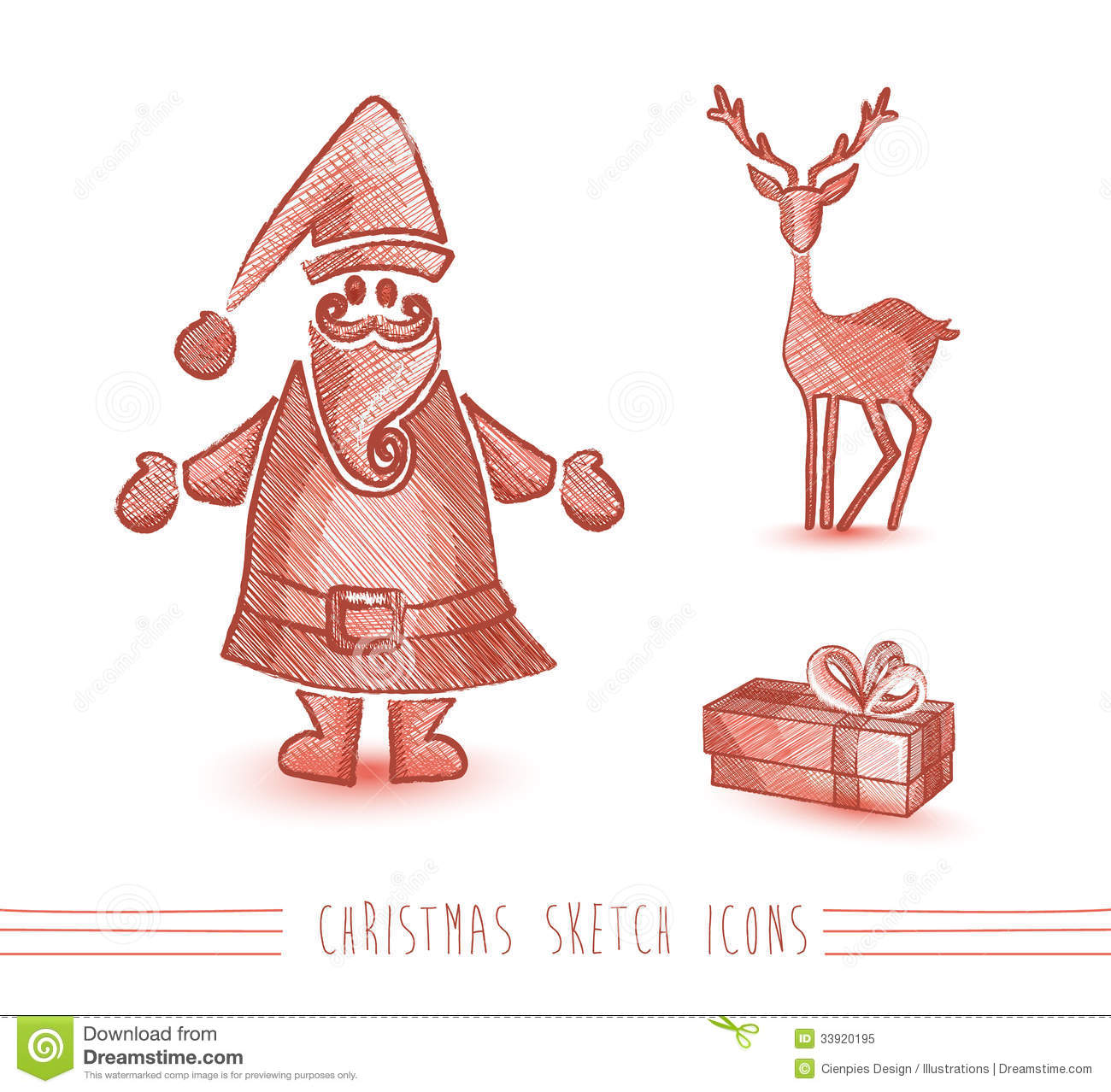 Christmas Sketches Stock Vector. Image Of Style Parcel - 33920195