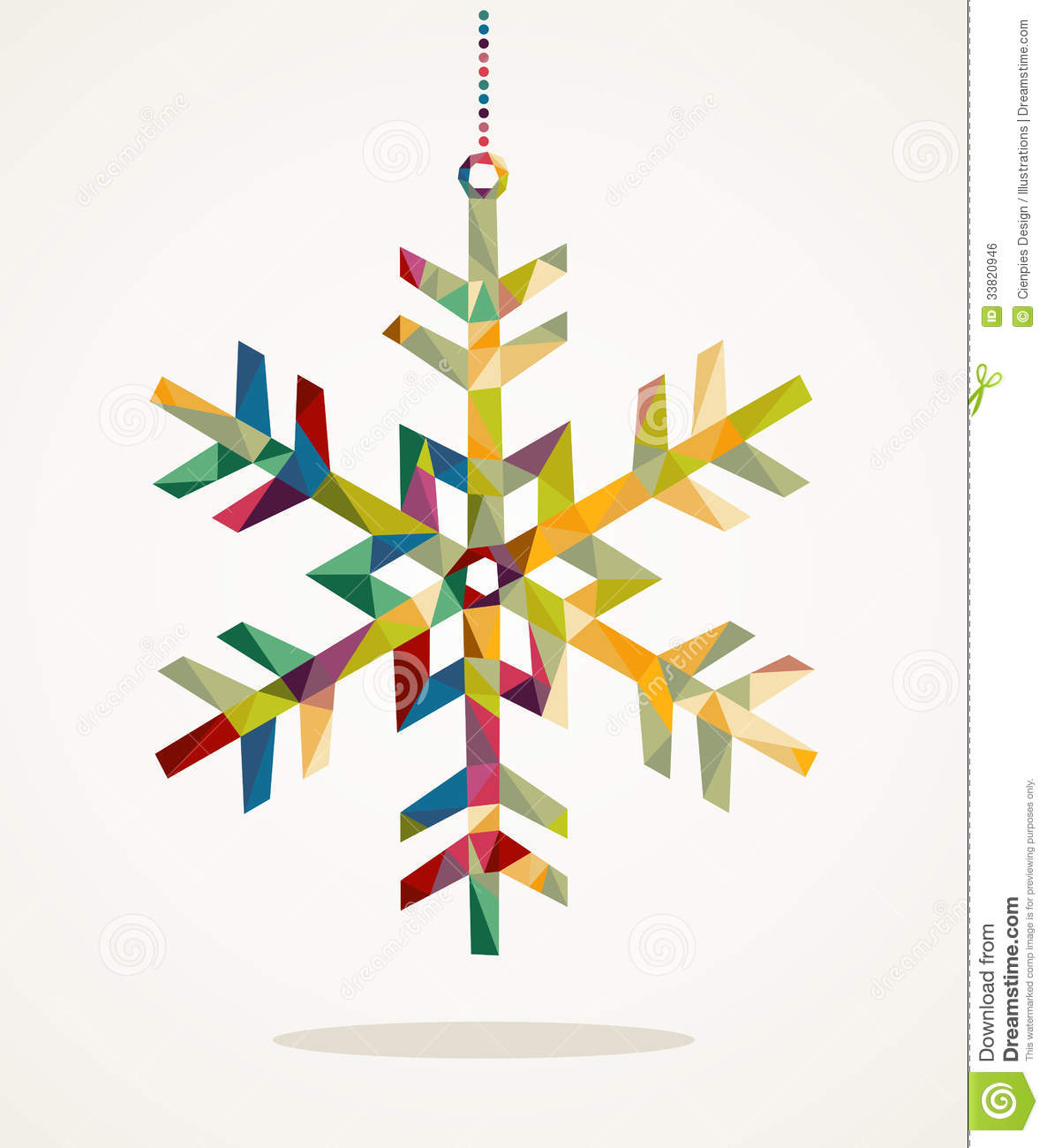Merry Christmas Snowflake Shape With Triangle Composition