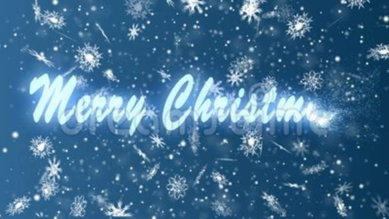 Merry Christmas from snowflakes on a blue background  Christmas and New  Year seamless looping animation