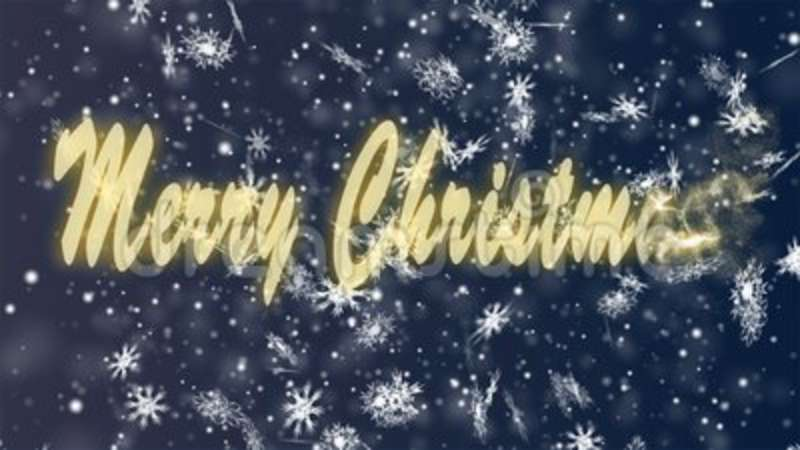 Merry Christmas from snowflakes on a blue background  Christmas and New  Year seamless looping animation  Color, season