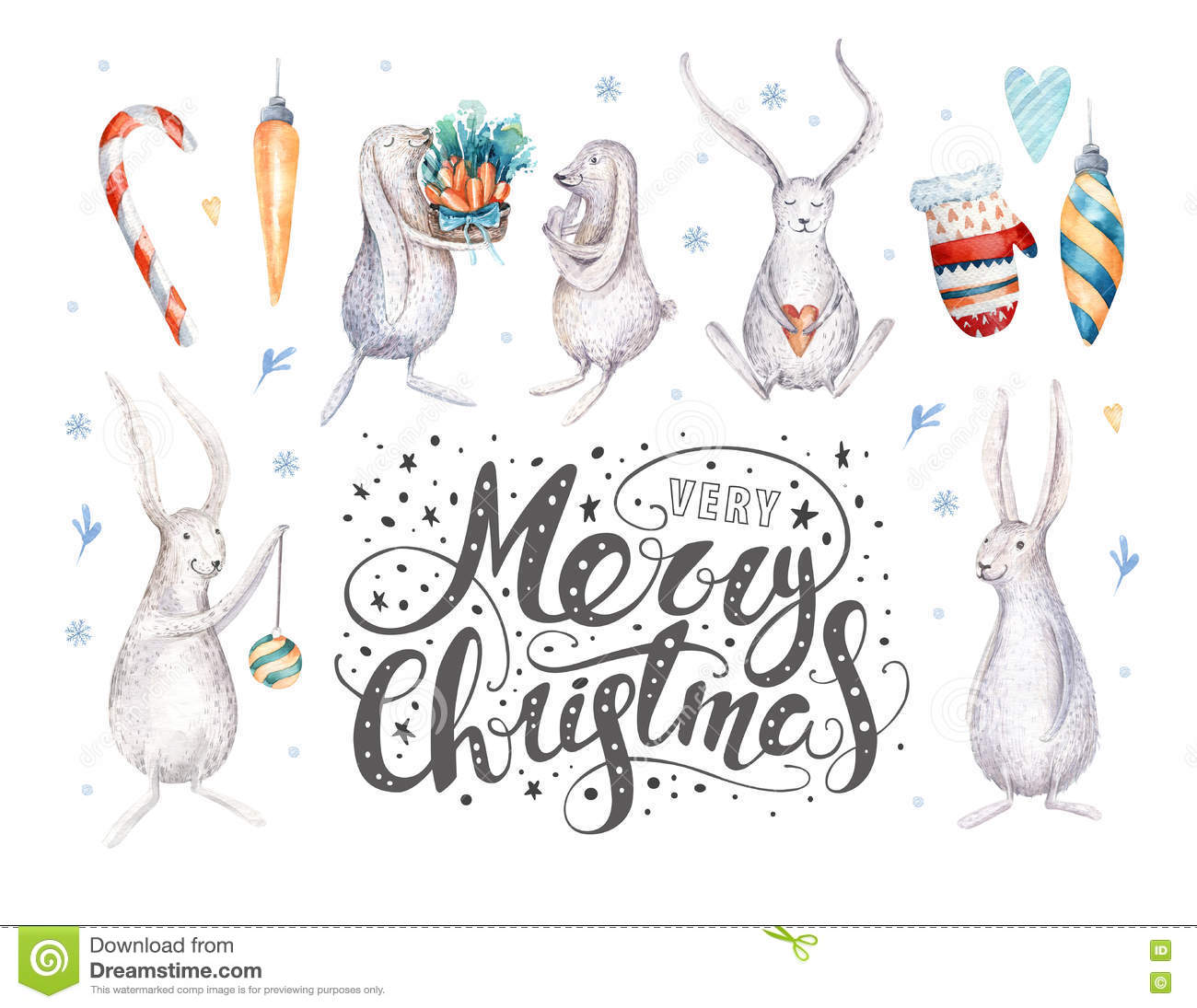 Merry christmas snowflakes and rabbits. Hand drawn bunny illustration, for your design. xmas bunnies design elements isolated on