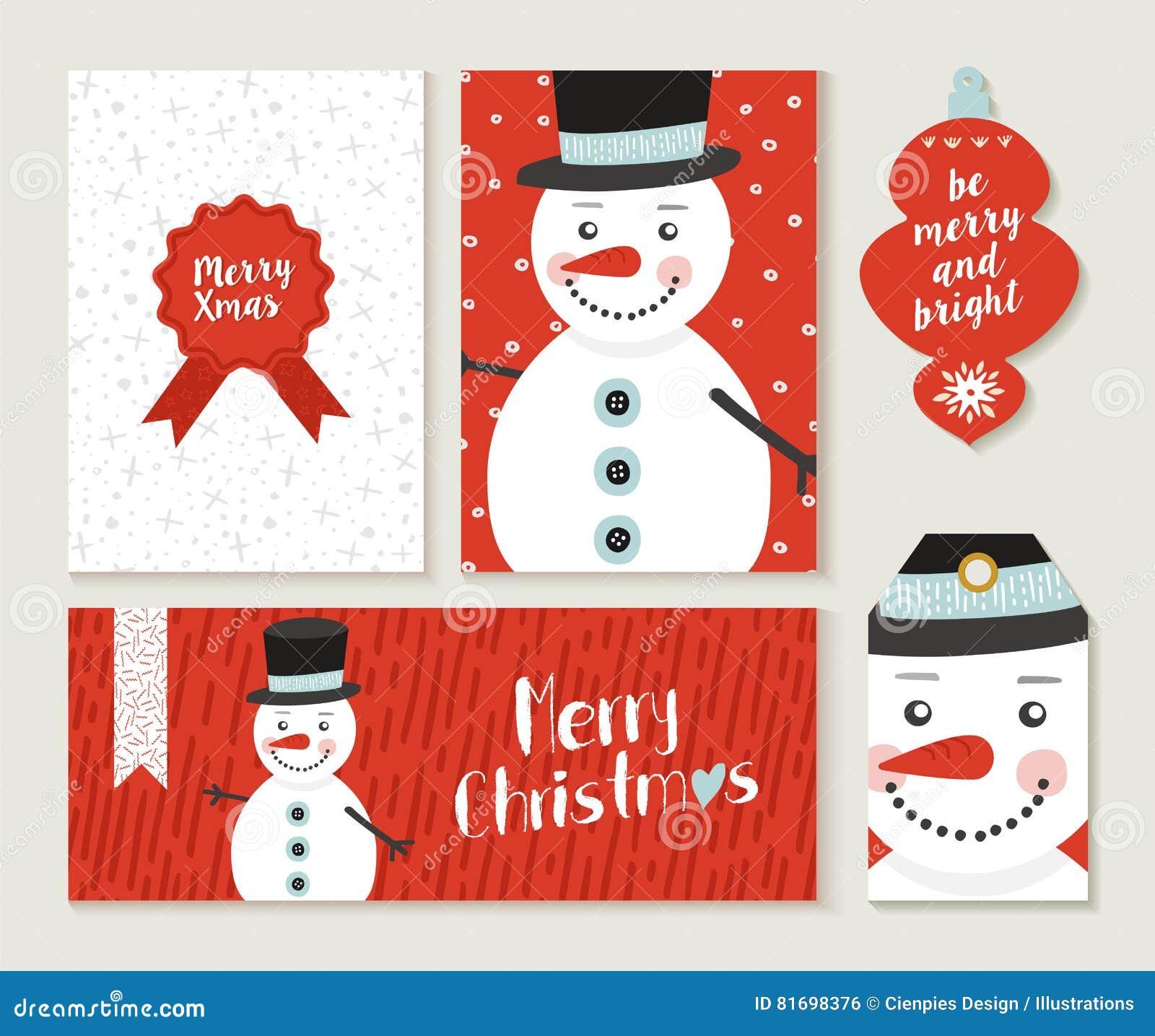 Merry Christmas Card Set Pattern Retro Cute Bauble Cartoon ...