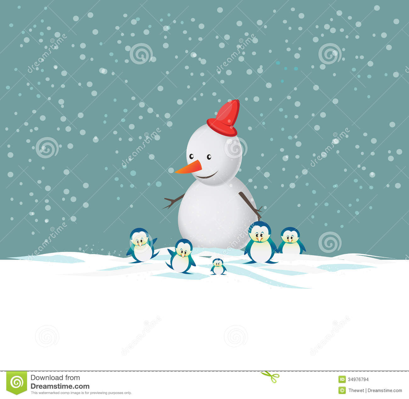 Merry christmas snowman stock illustration image of snow