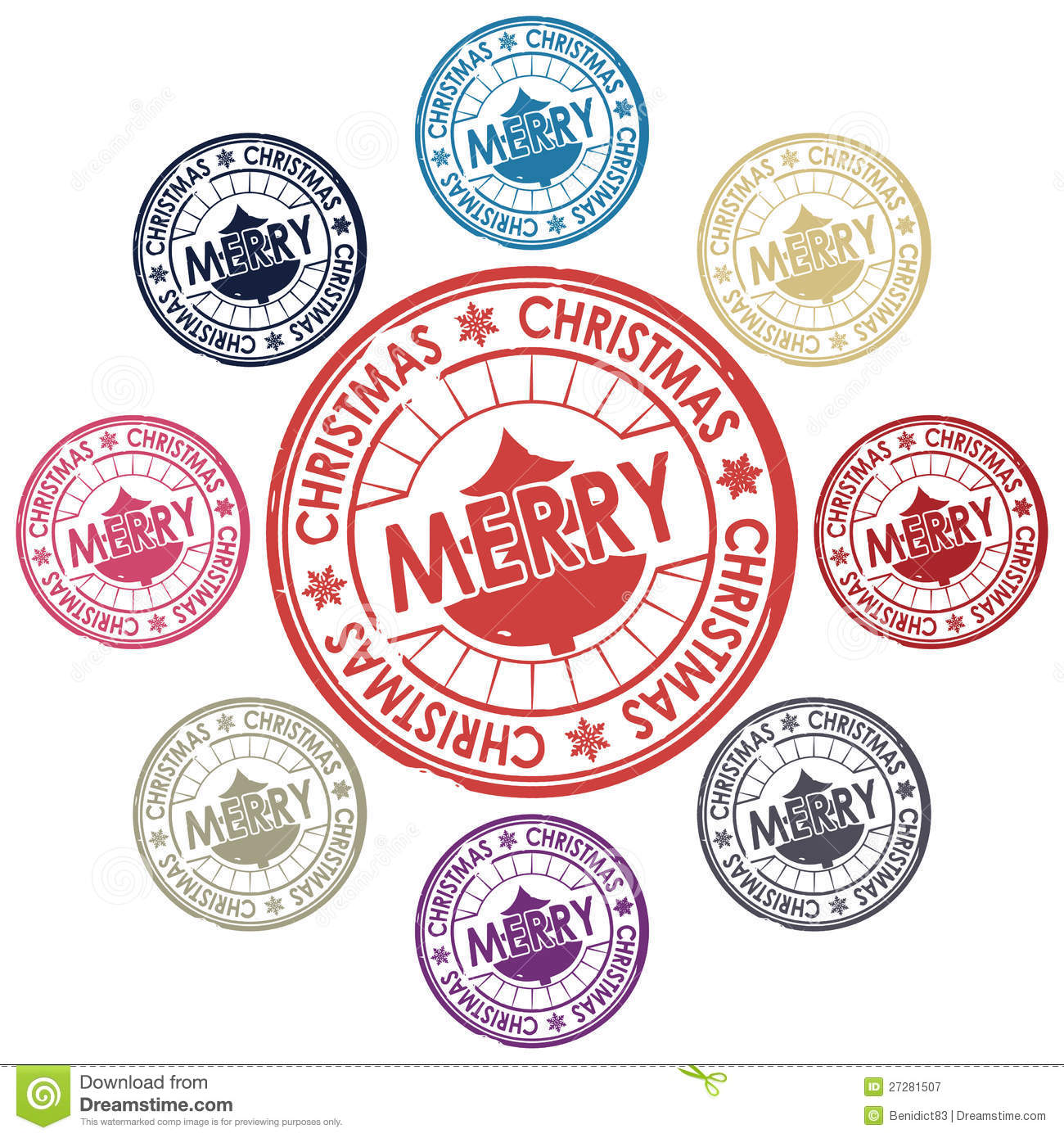 Merry Christmas Stamp Royalty Free Stock Photography - Image: 27281507