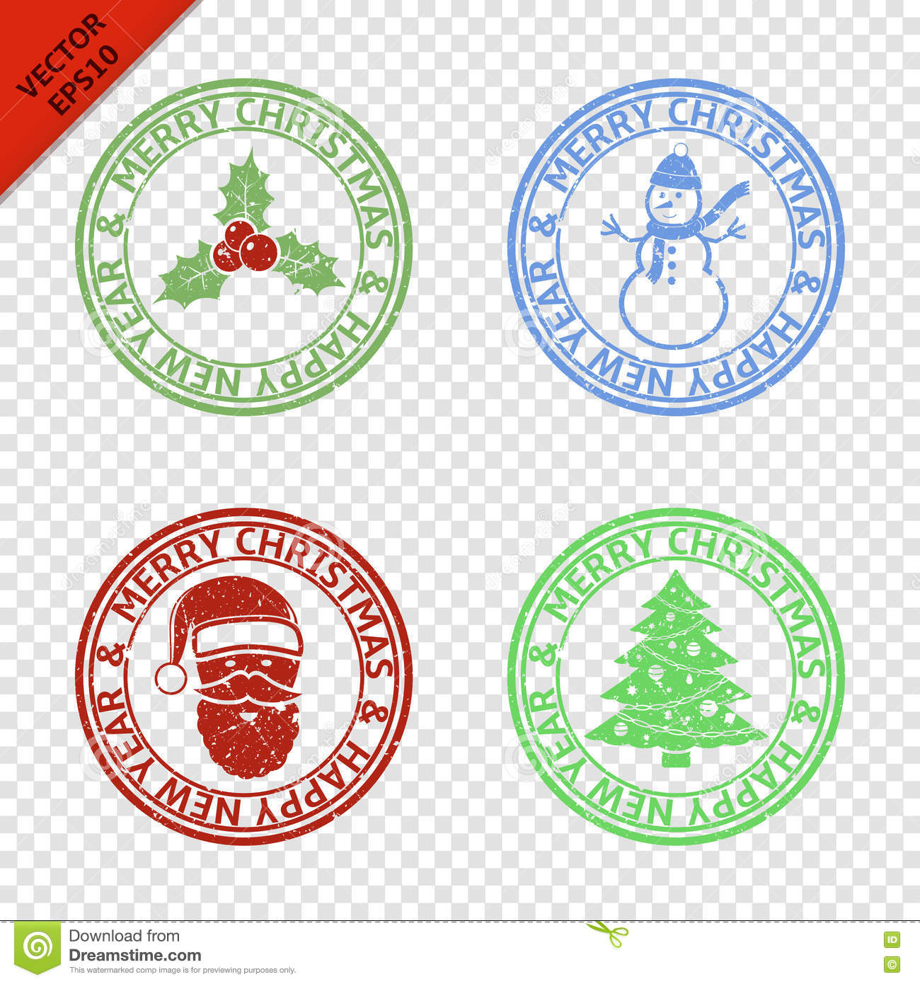 Merry Christmas Stamps With Art Elements Stock Vector