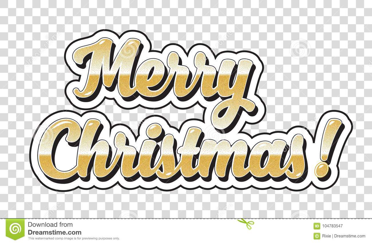 Merry Christmas No Background.Merry Christmas Sticker Stock Vector Illustration Of