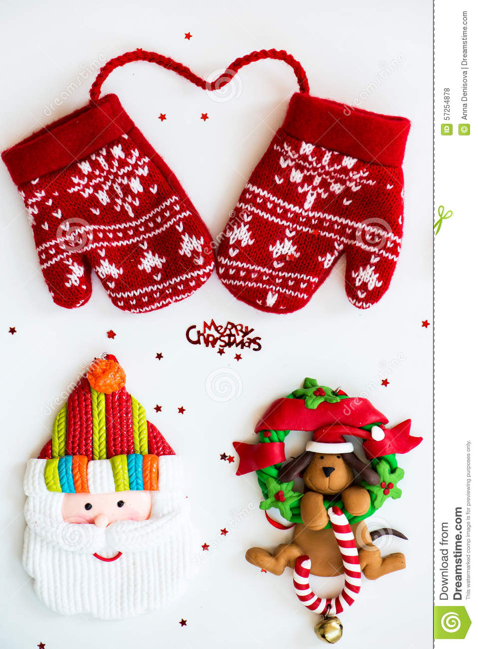 Merry Christmas Symbols Letters Red Knitted Mittens Santa D