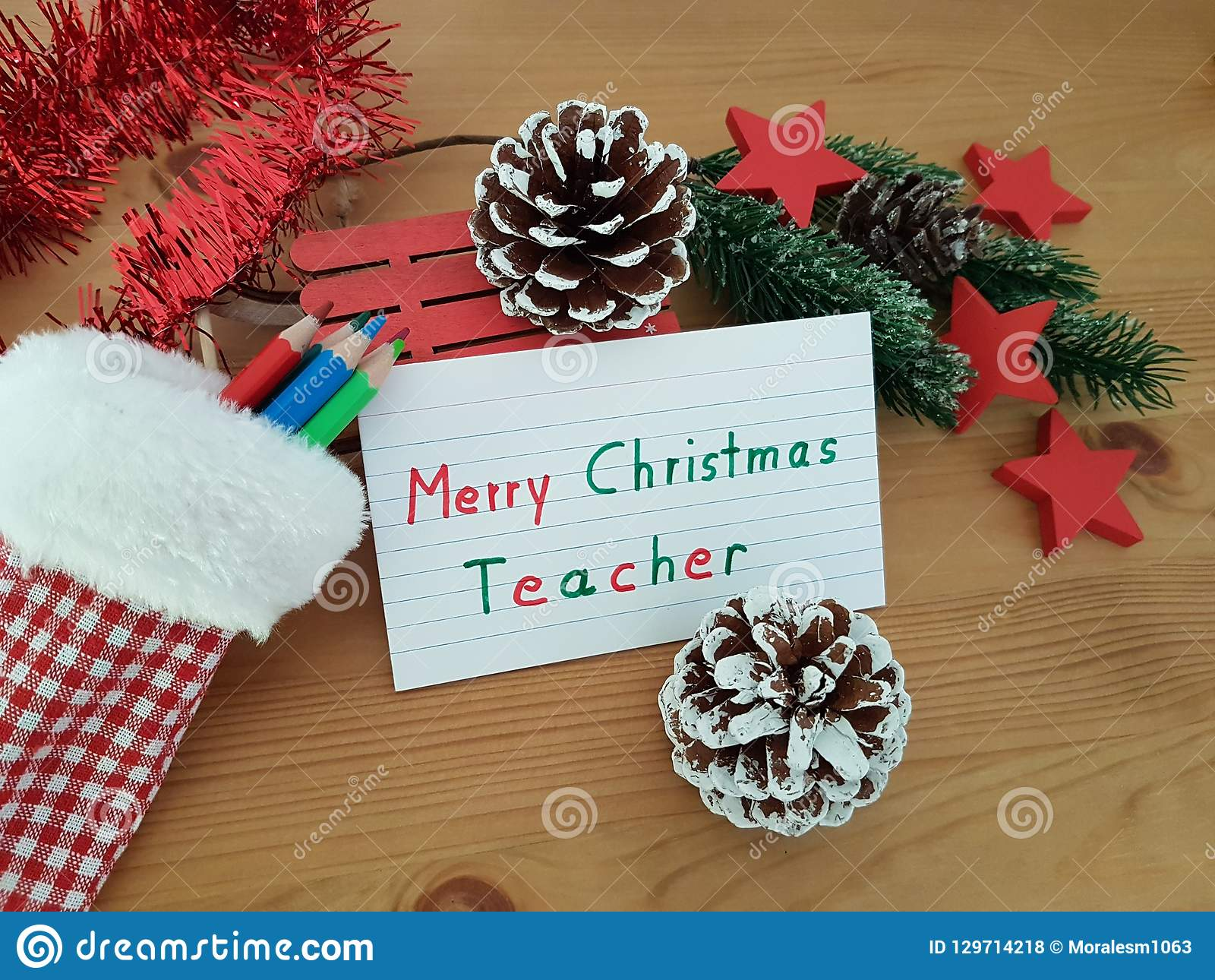 Merry Christmas Teacher, Stocking With Colored Pencils, Pine Cone And Sled