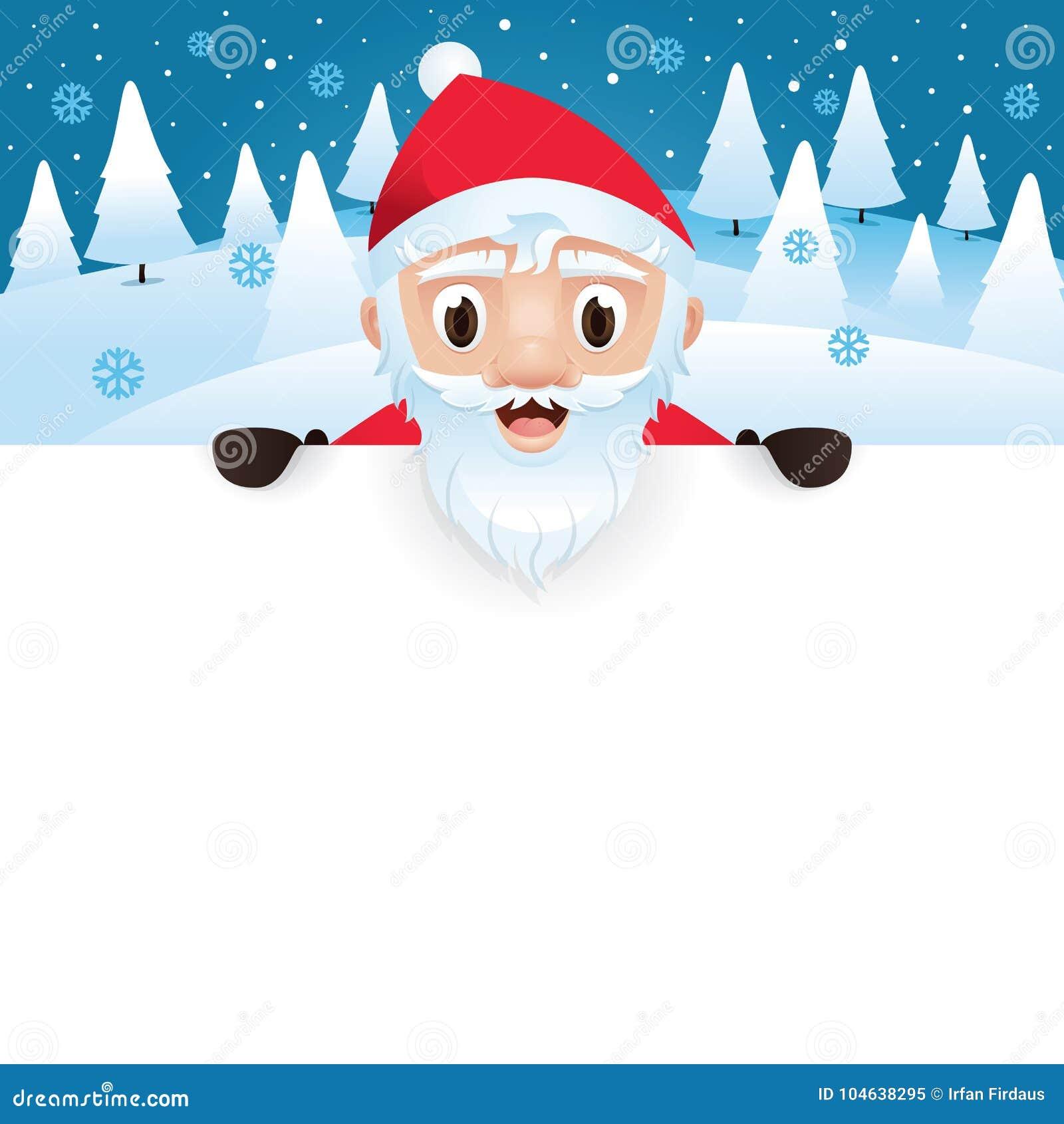Santa Claus With Blank Big Signboard Stock Illustration