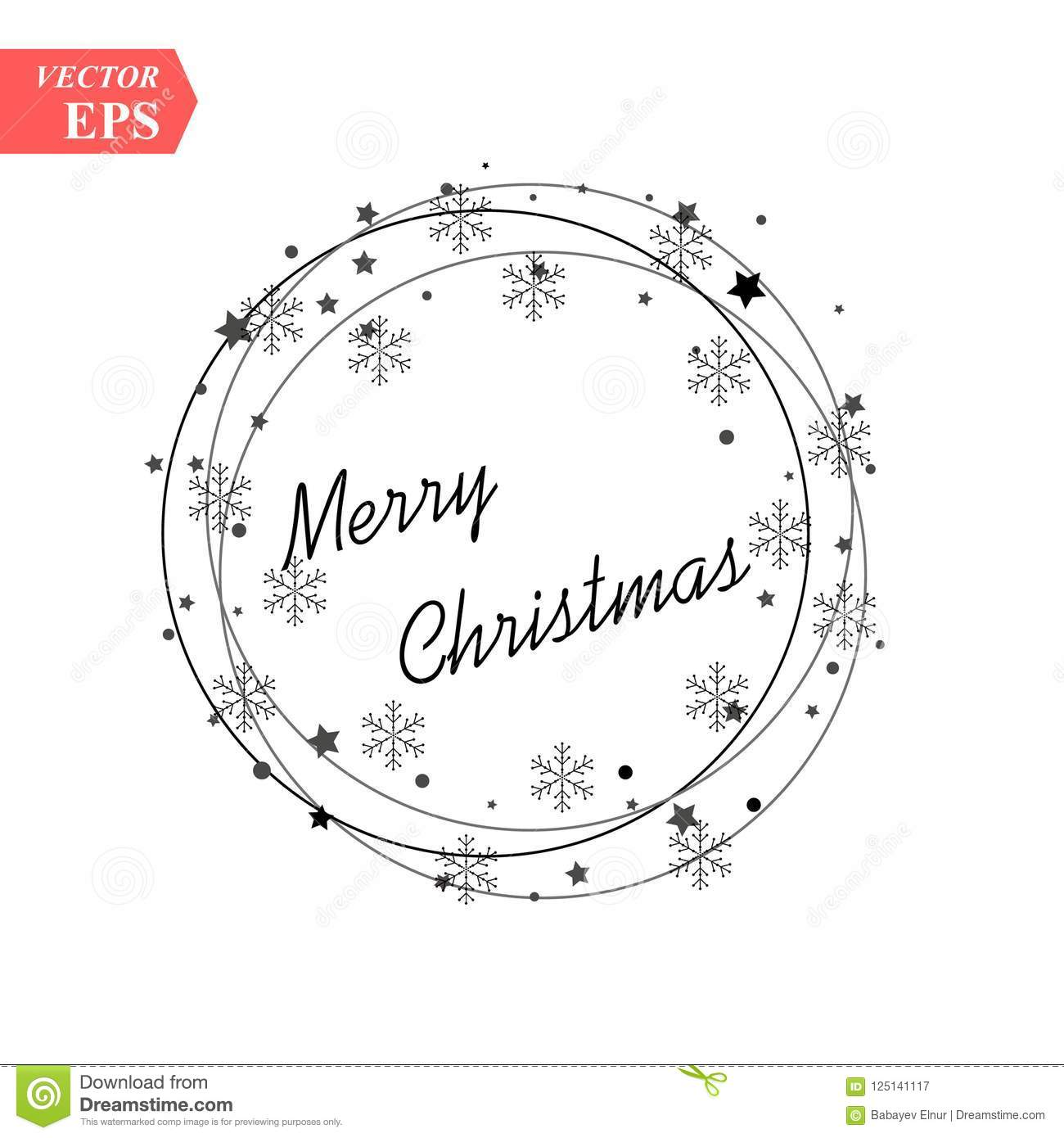 Merry Christmas Text For Card For Your Design. Calligraphy ...
