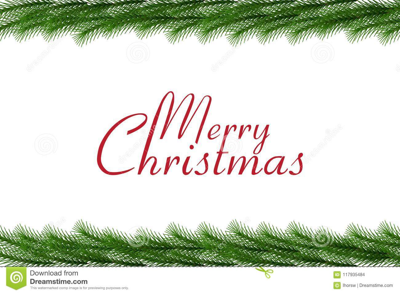 Merry Christmas Text With Christmas Garland Vector Border Stock