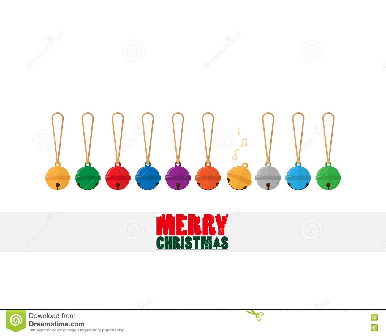 Merry Christmas Text And Colorful Small Bell Stock Vector ...