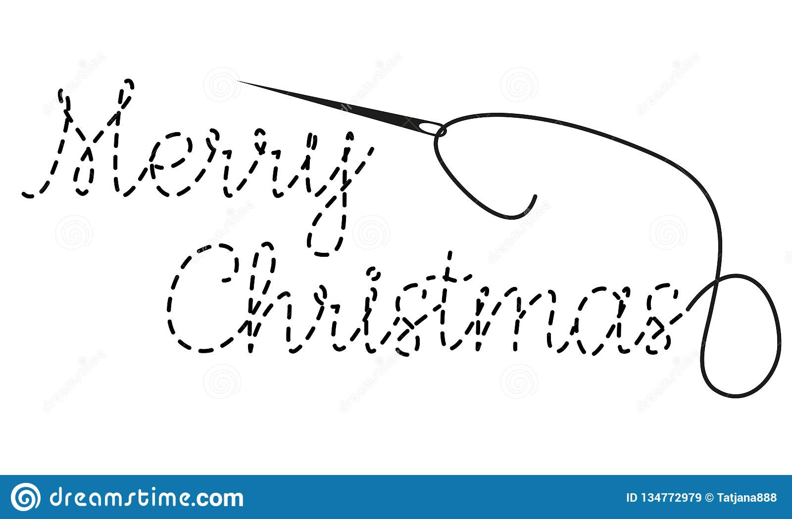 Merry Christmas Text With Interrupted Contour Hand Made Vector