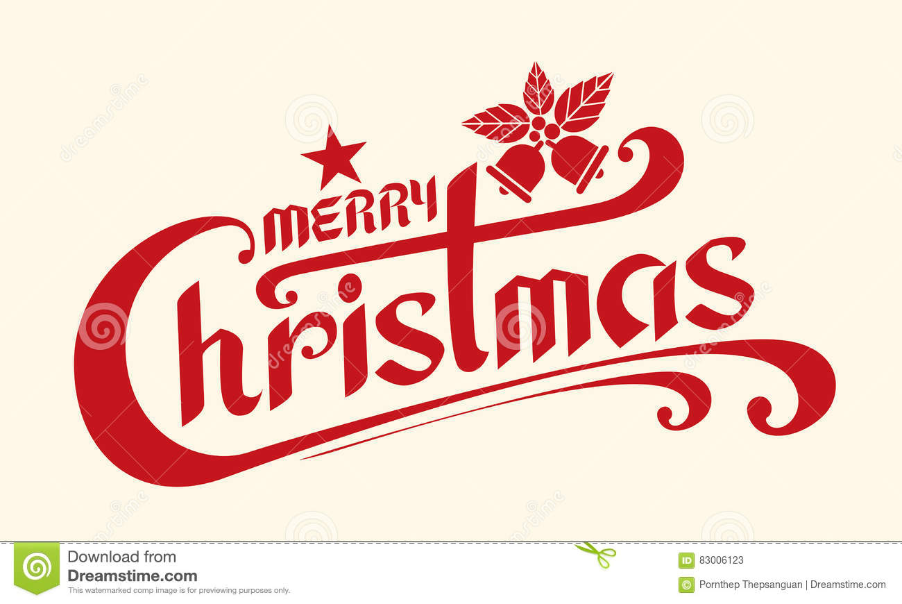 merry christmas text  lettering design card template