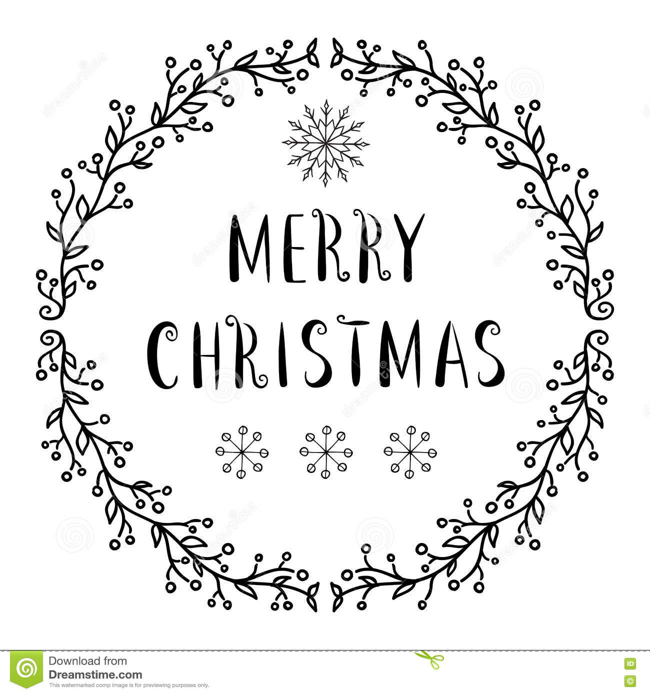 Merry Christmas Text - Lettering Design With Snowflakes Stock Vector ...