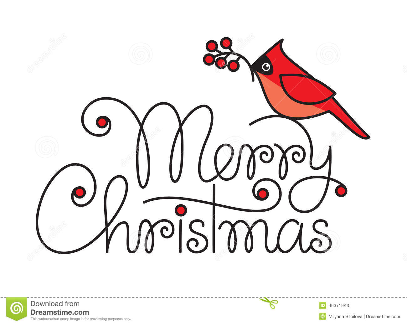 Merry Christmas Text With Red Robin Bird And Branch Stock Vector ...