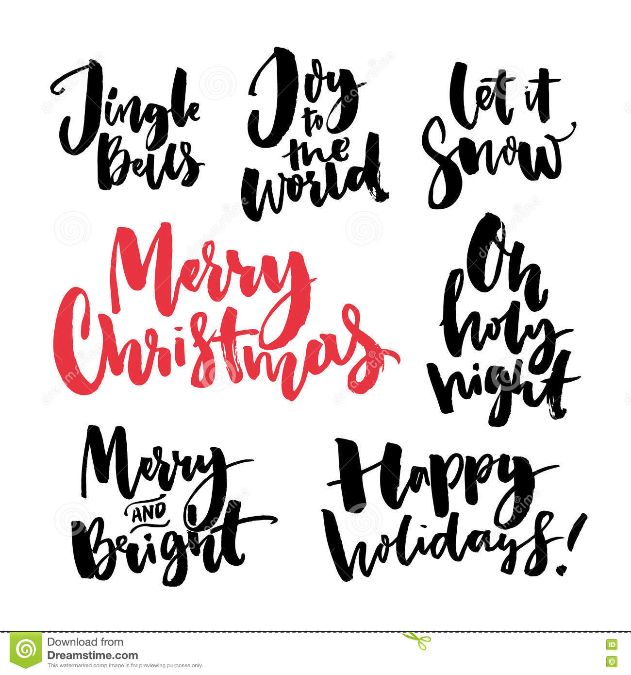 Merry christmas text and seasonal greetings handwritten