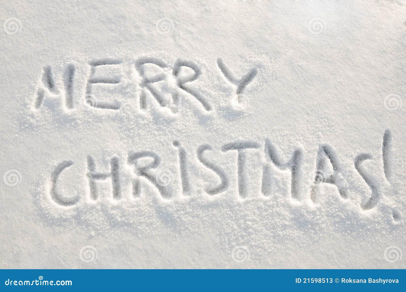 Merry Christmas Text On Snow Stock Photos - Image: 21598513