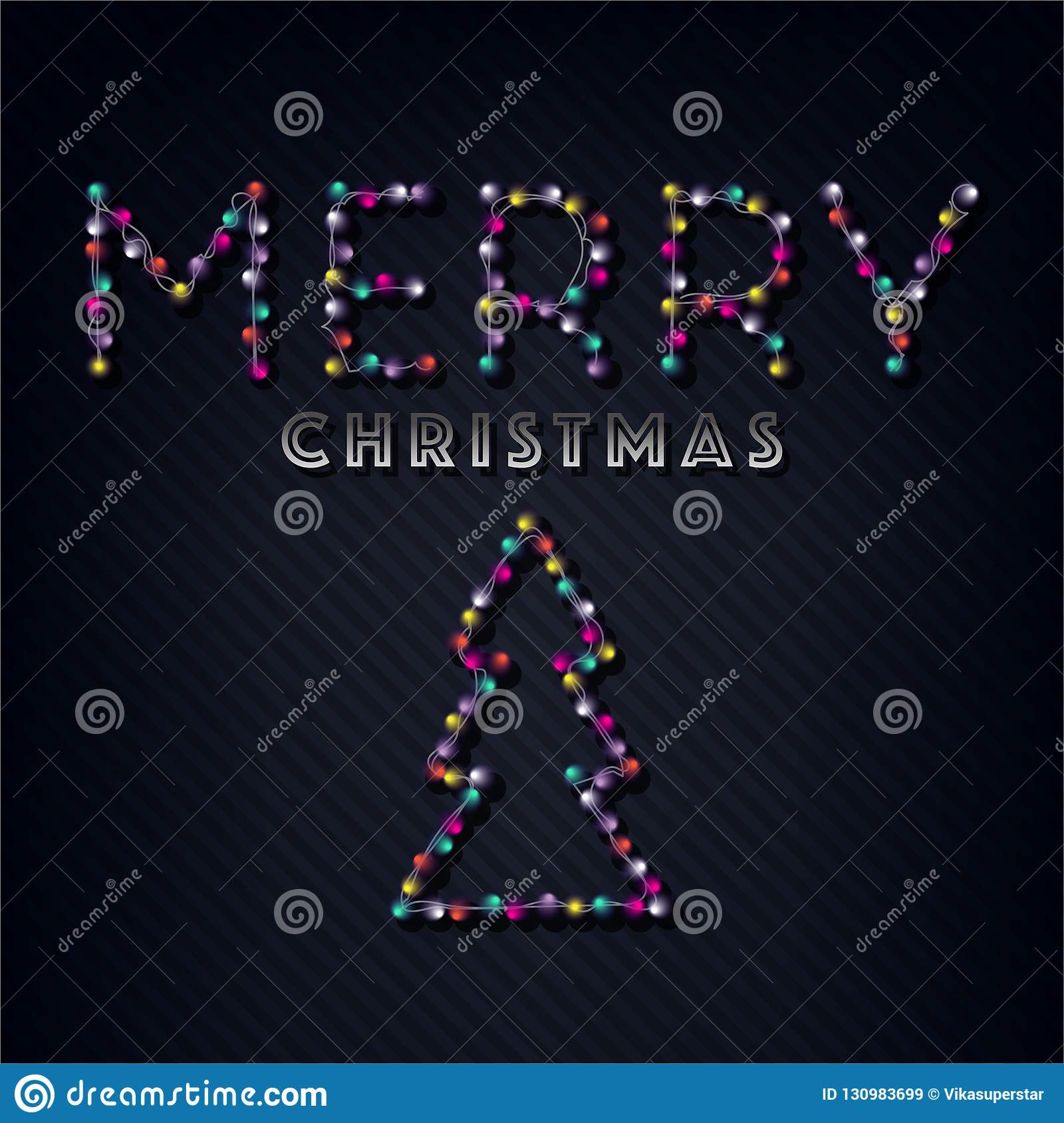 Merry Christmas text, template design letter template, Christmas lights. Bright glowing banner, neon lights, night congratulation.