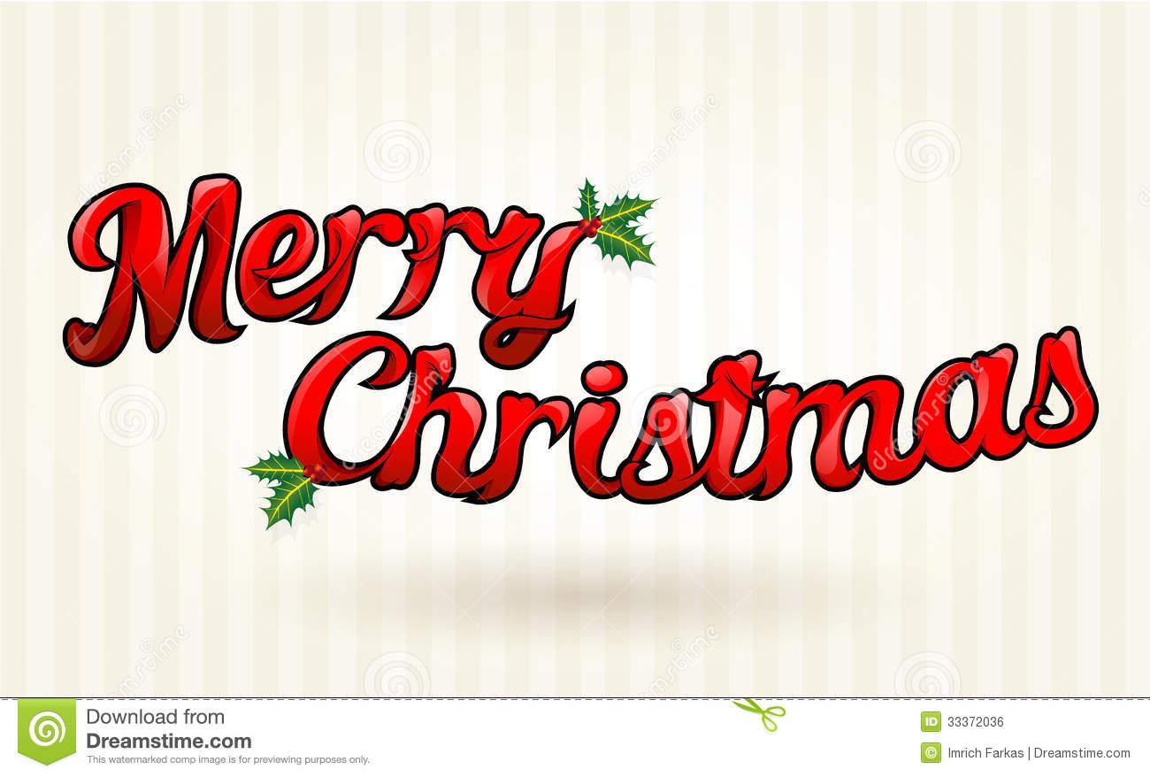 Merry Christmas Text Worked Out To Details. Vector Art. Royalty Free ...