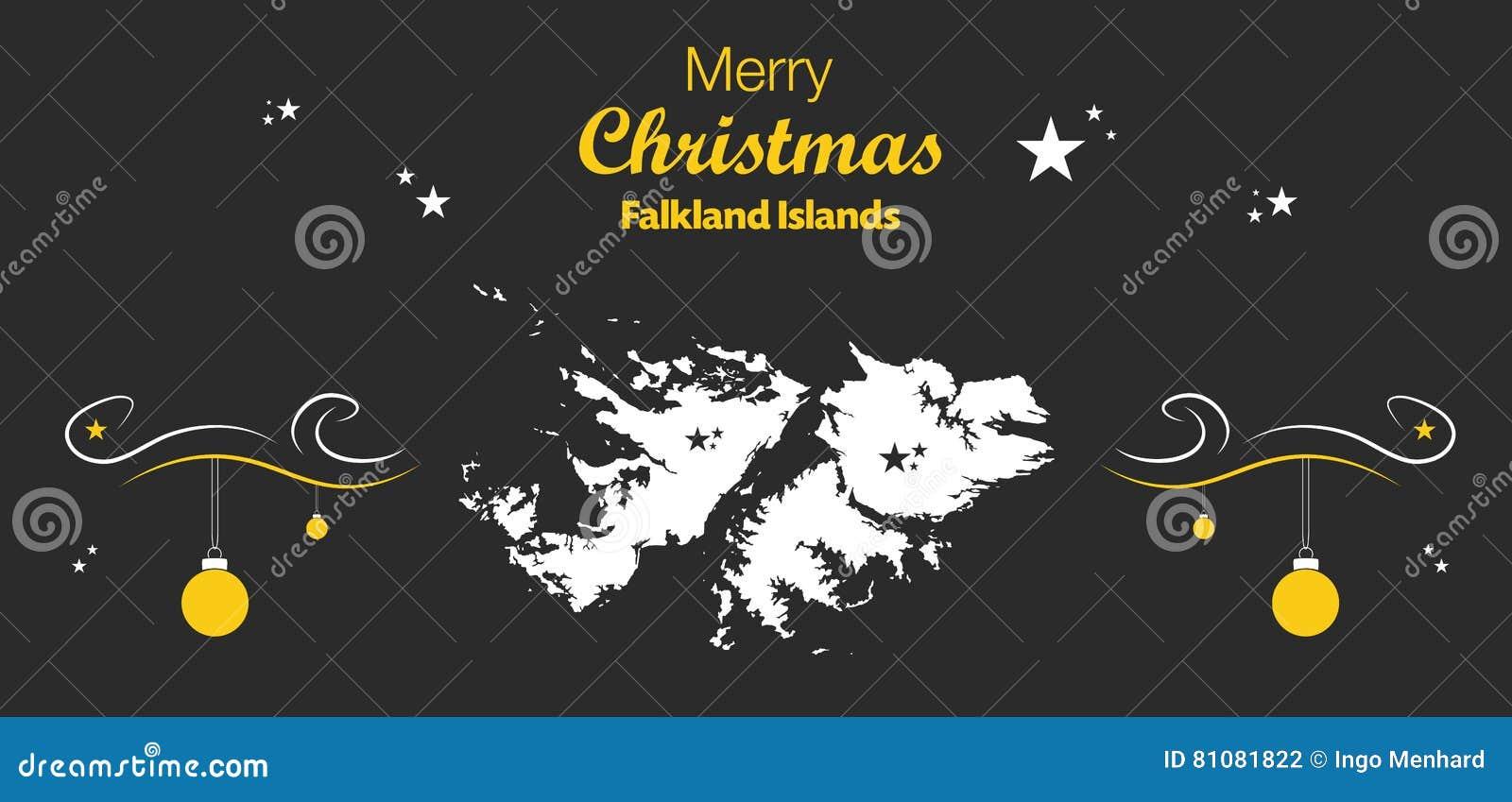 Island Christmas Theme.Merry Christmas Theme With Map Of Falkland Islands Stock