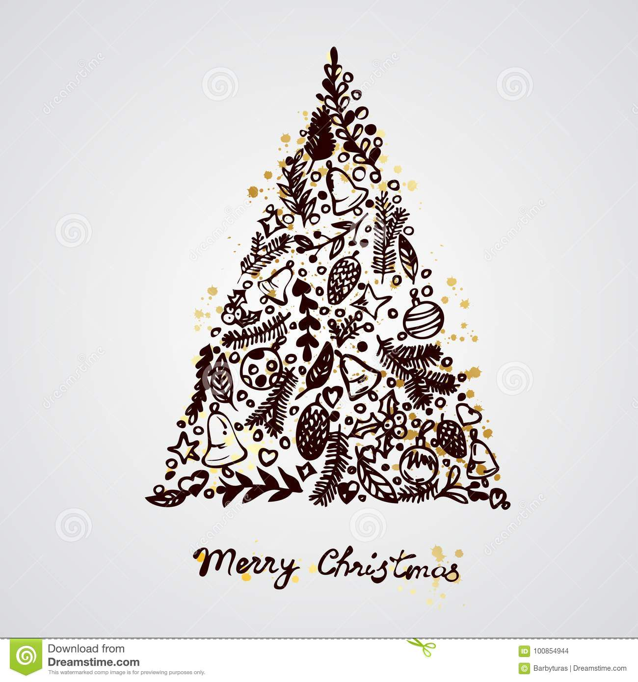 Merry Christmas Tree Decoration Elements Composition Stock