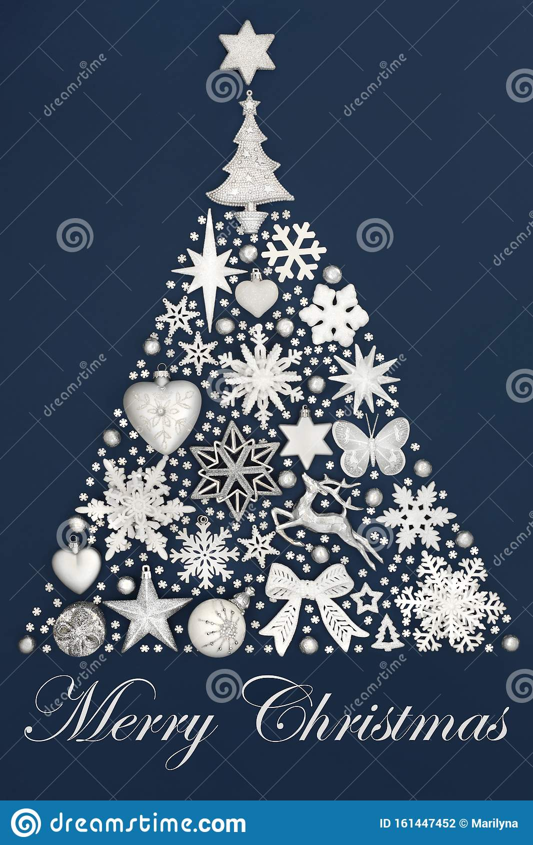 Merry Christmas Tree Decoration Stock Photo Image Of Holiday Frosted 161447452