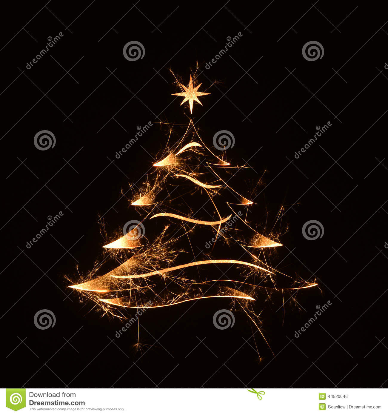 merry christmas tree greeting with stars image 44520046