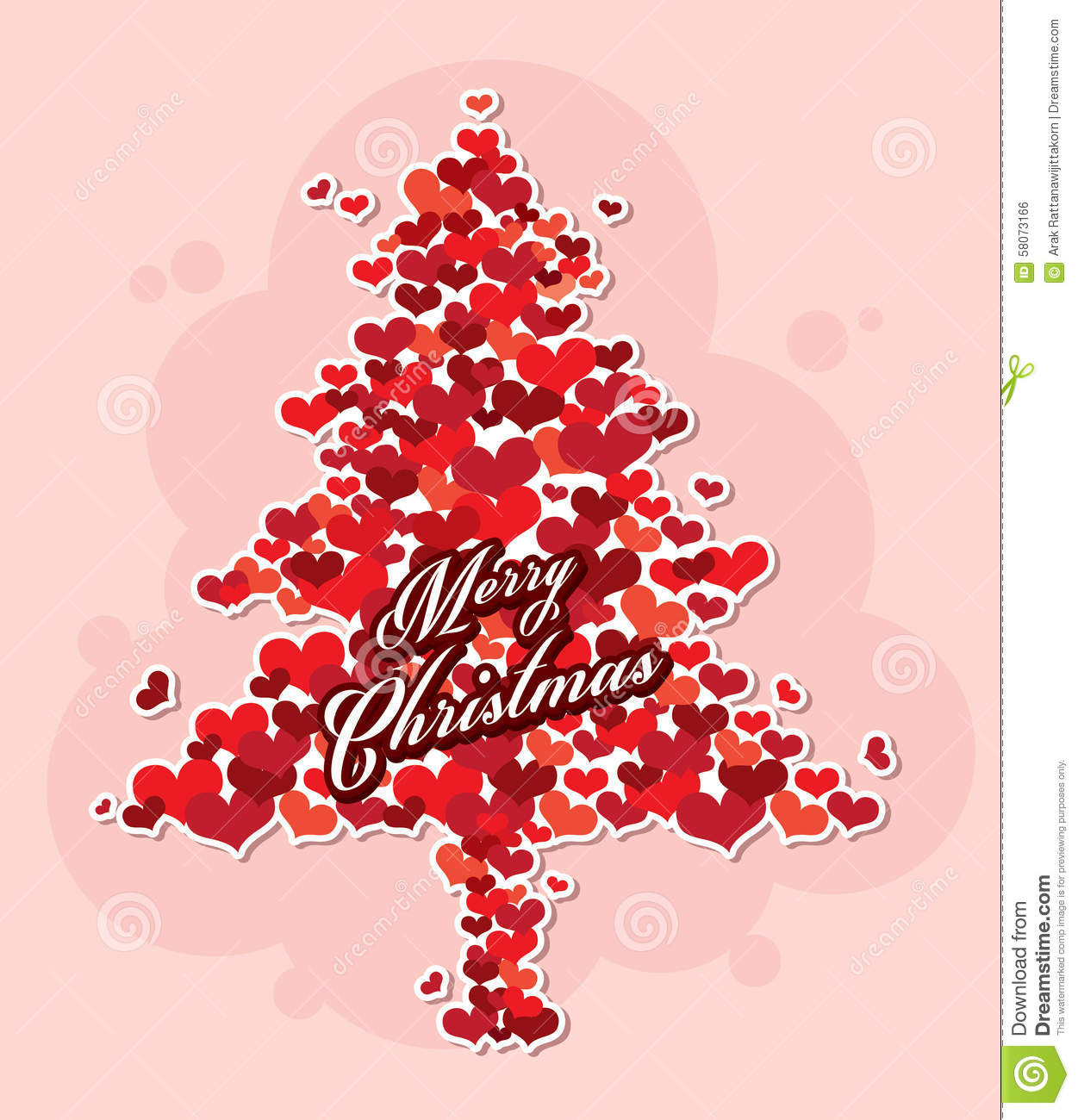 Merry Christmas Tree From Heart. Stock Vector - Illustration of ...
