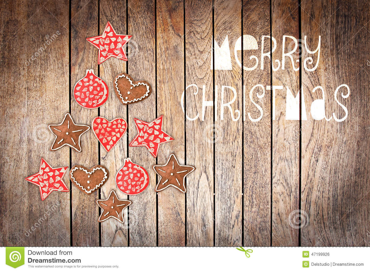 Merry Christmas Tree Made With Wooden Rustic Ornaments On Wood Background